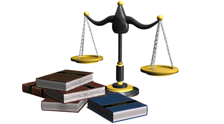 Scales of justice and books