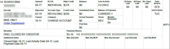 credit report tradeline showing credit payment history and balance and monthly payment